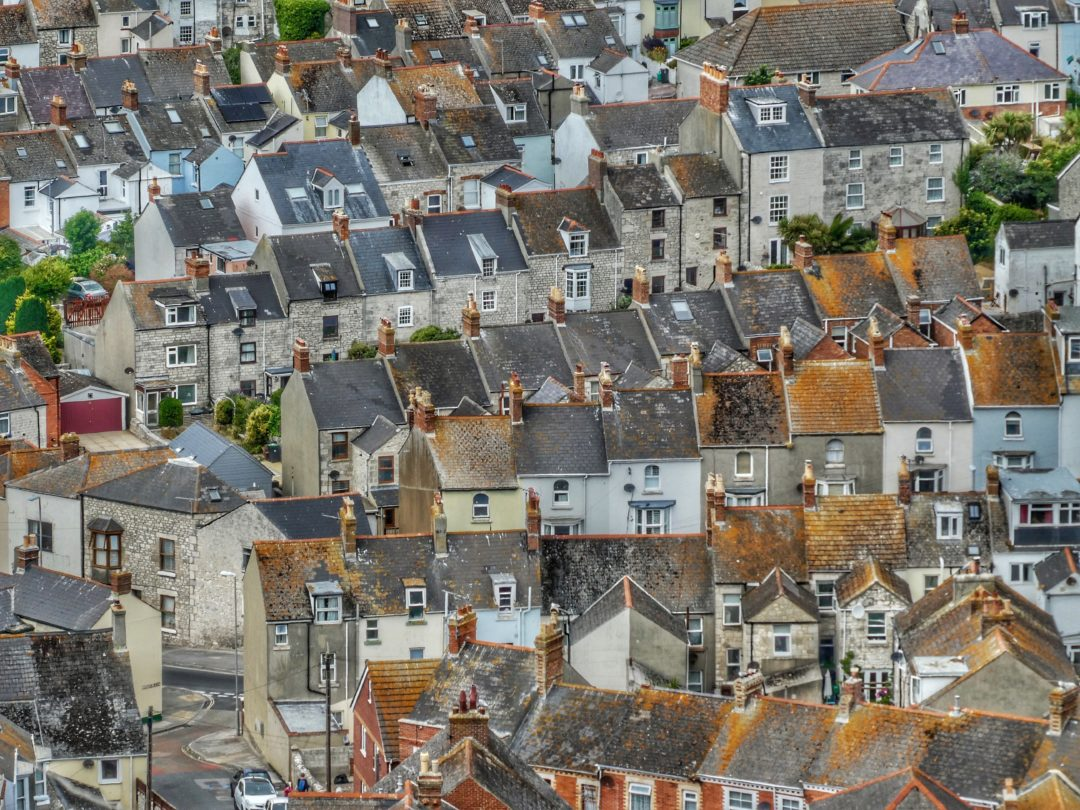 Terraced houses aerial view